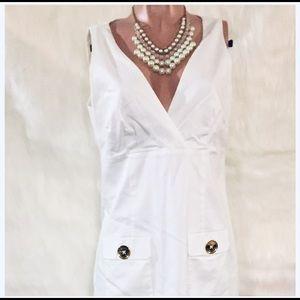 Michael Kors Large Logo Button White Cotton Dress